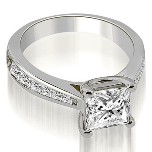1.40 cttw. 14K White Gold Cathedral Channel Princess Diamond Engagement Ring