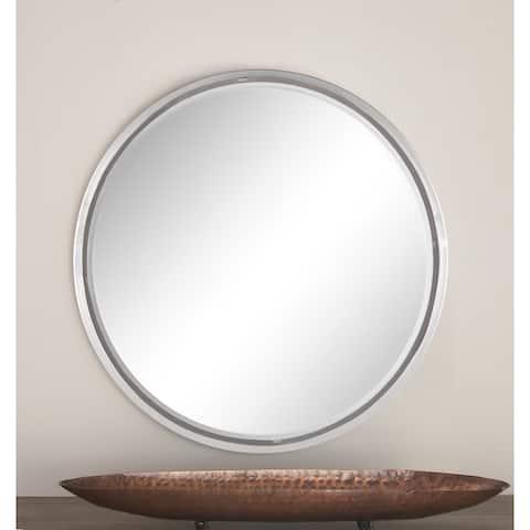 Silver Iron Contemporary Wall Mirror 24 x 24 x 1 - 24 x 1 x 24Round