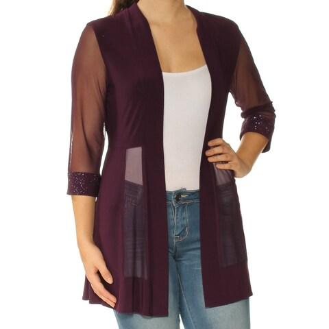 R&M RICHARDS Womens Purple Sheer 3/4 Sleeve Open Cardigan Top Petites Size: S