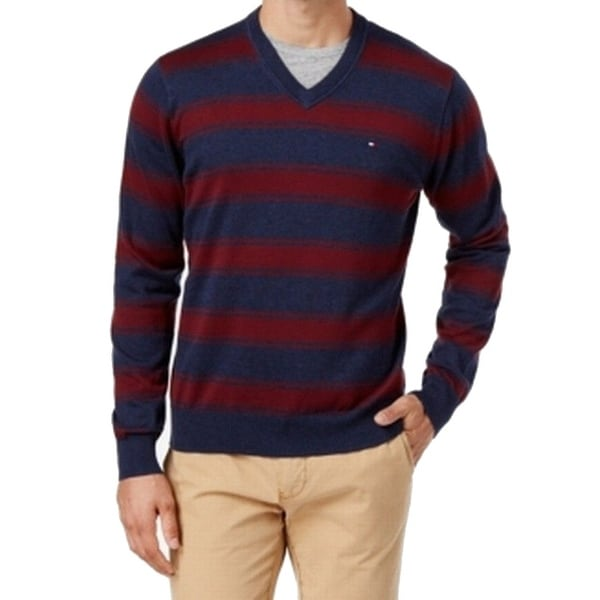 Shop Tommy Hilfiger NEW Red Navy Blue Mens Size XS Striped V-Neck Sweater -  Free Shipping On Orders Over  45 - Overstock - 19533692 cc3da38e1