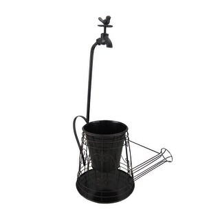 Metal Wire Watering Can Planter w/ Spigot Accent