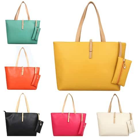 Fashion Women Faux Leather Tote Zipper Shoulder Bag Handbag Shopping Purse Gift