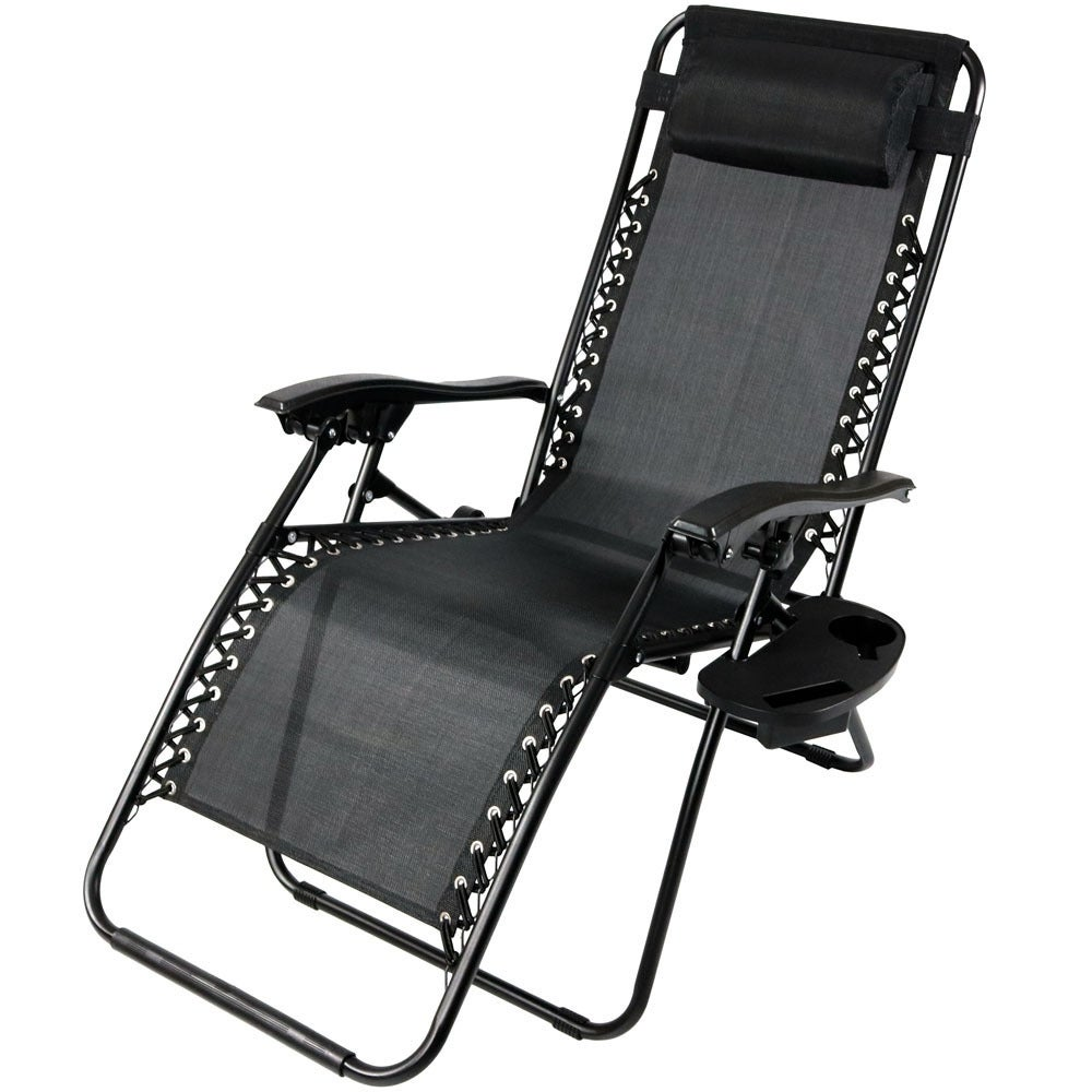 Sunnydaze Zero Gravity Lounge Chair with Pillow and Cup