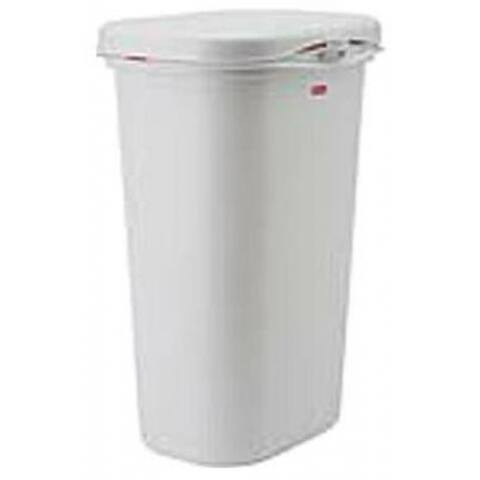 Rubbermaid FG5L5806WHT Spring Top Wastebasket with LinerLock, White, 52 Qt