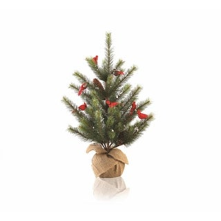 2' Country Cabin Glittered Cardinal Snow Pine Artificial Christmas Tree with Burlap Base - Unlit