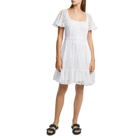 French Connection Womens Casual Dress Eyelet Scoop Neck - Summer White - 2