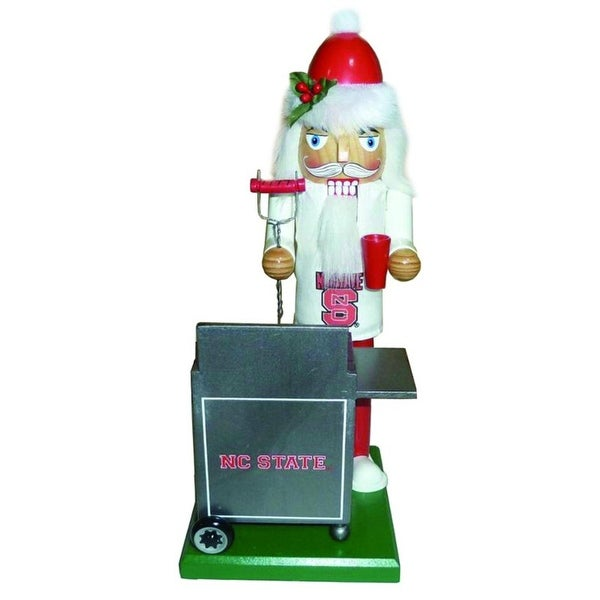 """12"""" NCAA NC State Wolfpack Sports Tailgating Wooden Christmas Nutcracker - RED"""