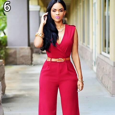 Women's Fashion Romper V-Neck Sleeveless Slim Fit Wid Leg Casual Jumpsuit