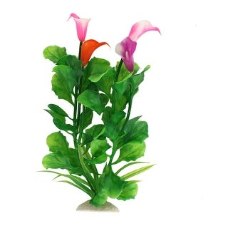 Unique Bargains 24cm High Artificial Fuchsia Flower Green Leaf Plants Ornament