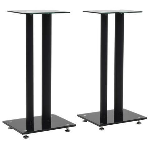 vidaXL Speaker Stands 2 pcs Tempered Glass 2 Pillars Design