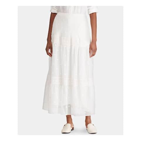 RALPH LAUREN Womens White Floral Peasant Skirt Size 12