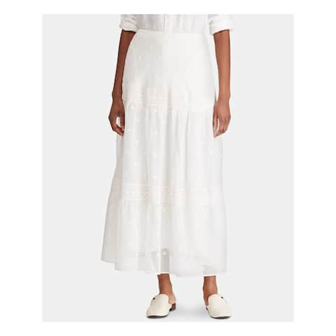 RALPH LAUREN Womens White Floral Peasant Skirt Size 4