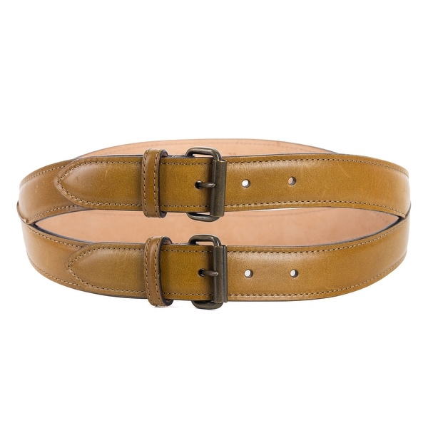 Roberto Cavalli Tan Brown Spiral Stitched Double Leather Belt