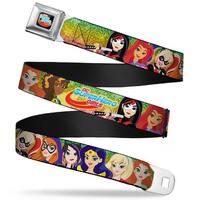 Dc Superhero Girls Logo Full Color Black Gold Red Blue Dc Superhero Girls 9 Seatbelt Belt