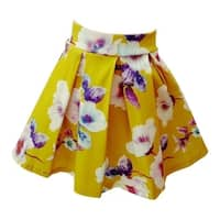 Little Girls Green Floral Print Pleated Flared Skirt