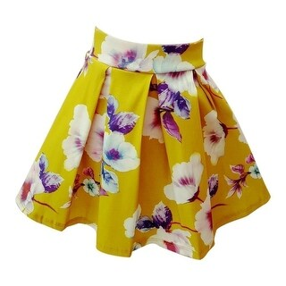 Little Girls Green Floral Print Pleated Flared Skirt
