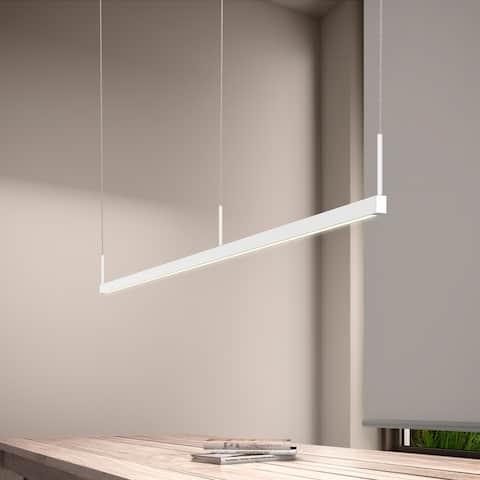 Sonneman Lighting Thin-Line Satin White 96-inch LED Two Sided Pendant, White Shade
