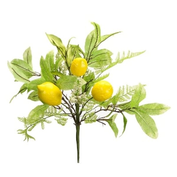 Pack of 6 Artificial Yellow Lemon and Green Foilage Decorative Sprays 18""