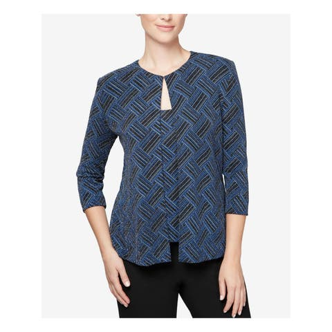 ALEX EVENINGS Womens Blue Metallic Printed Shell And Jack 3/4 Sleeve Scoop Neck Top Petites Size: M