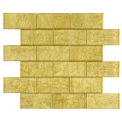 "TileGen. Galaxy 2"" x 4"" Glass Mosaic Tile in Gold Wall Tile (10 sheets/9.6sqft.)"