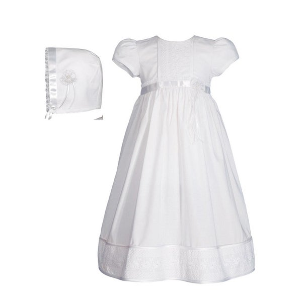 Baby Girls White Cotton Floral Lace Bonnet Christening Dress Gown