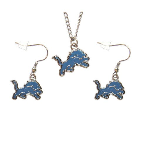 Detroit Lions Necklace and Dangle Earring Charm Set - 18-inch chain