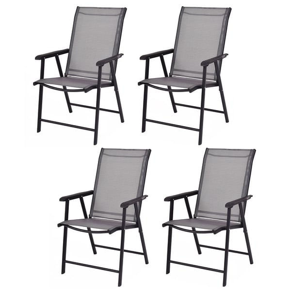 Costway Set of 4 Outdoor Patio Folding Chairs Camping Deck Garden Pool Beach W/Armrest - black&gray