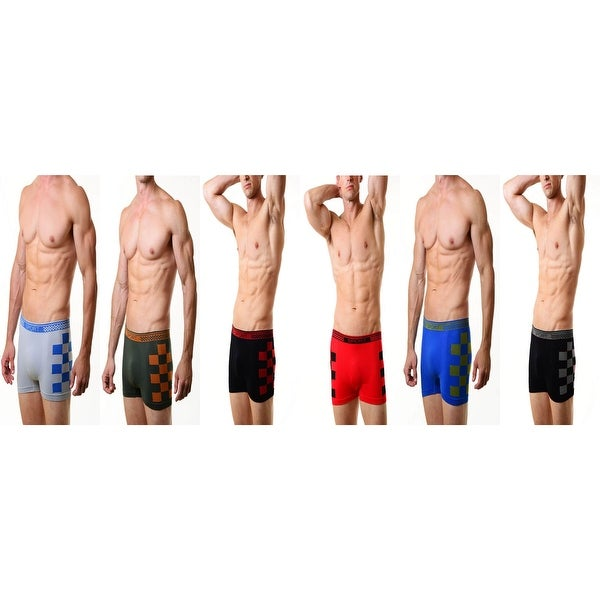 93b4bfc54ecd Shop Men's Classic Seamless Boxer Briefs Shorts Shorts Underwear 6-Pack  Check Print on the side for Men(One Size) - Free Shipping On Orders Over  $45 ...