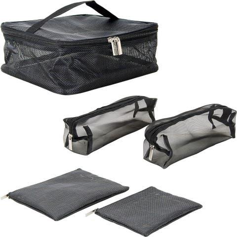 Casemetic PC08 5-In-1 Mesh Makeup Multipurpose Organizer Bag with Zipper - Black