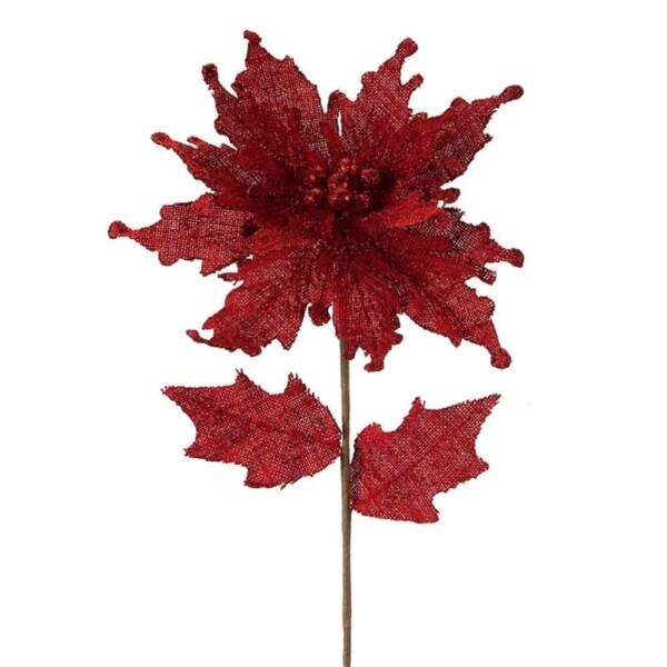 "Set of 12 Red Burlap Artificial Poinsettia Flower Christmas Picks 28"""