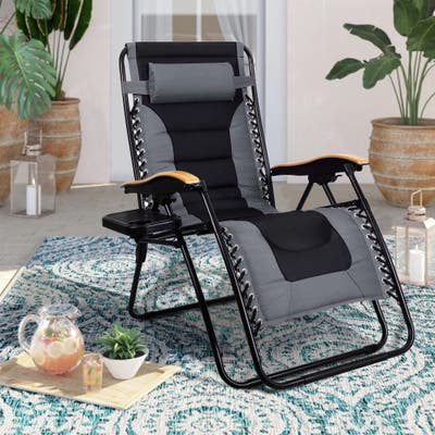 MFSTUDIO Oversize XL Padded Zero Gravity Lounge Chair Wider Armrest Adjustable Recliner with Cup Holder - N/A