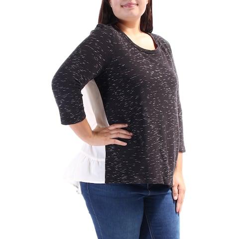 KENSIE Womens Black 3/4 Sleeve Scoop Neck Sweater Size XL