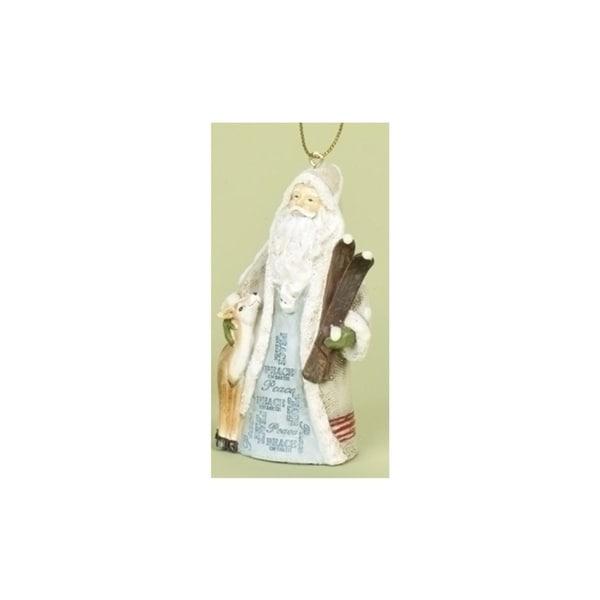 "3.5"" Woodland Inspirations Blue Peace On Earth Santa Claus Christmas Ornament"