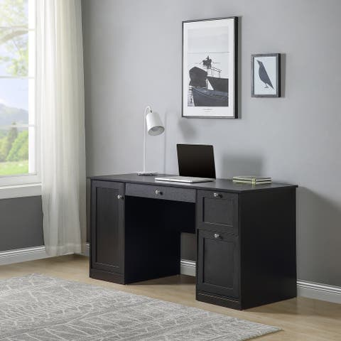 AOOLIVE Computer Desk with Storage Cabinet in Home Office,Black