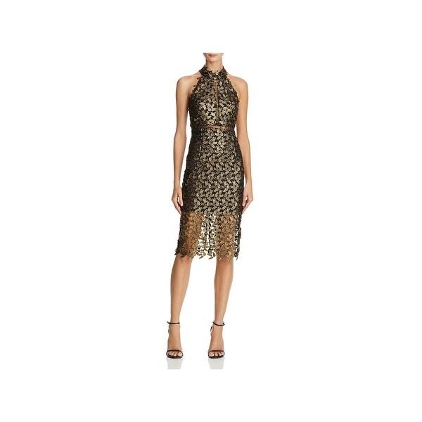 Bardot Womens Cocktail Dress Metallic Lace