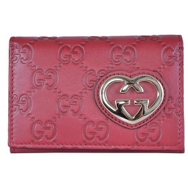NEW Gucci Women's Raspberry Pink Leather GG Guccissima Heart Card Case Wallet