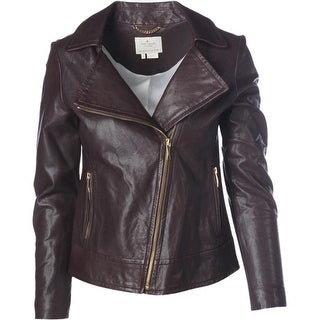 Kate Spade Womens Lambskin Leather Long Sleeves Motorcycle Jacket - 0