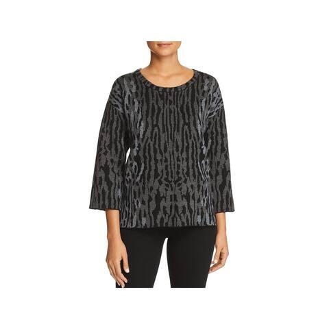 Kobi Halperin Womens Pullover Sweater Hi-Low Animal Print - XL