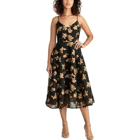 Rachel Rachel Roy Womens Scuba Dress Floral Jacquared - Black Combo