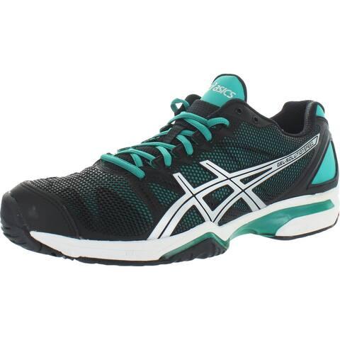 Asics Womens GEL-Solution Speed Running Shoes Fitness Workout - Black/Aqua Green/Silver - 12 Medium (B,M)
