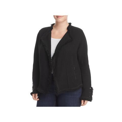 Nic + Zoe Womens Plus Sweatercoat Jacket Fringe