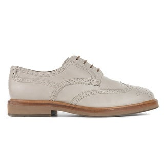 Brunello Cucinelli Mens Grey Smooth Leather Wing Tip Oxfords