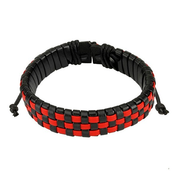 Black and Red Checker Weaved Layers Leather Bracelet with Drawstrings (14.5 mm) - 7.5 in