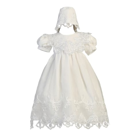 Baby Girls White Embroidered Organza Gown Bonnet Christening Set 3-24M
