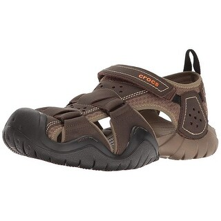 Crocs Men's Swiftwater Leather M Fisherman Sandal, Espresso/Walnut, 10 M Us