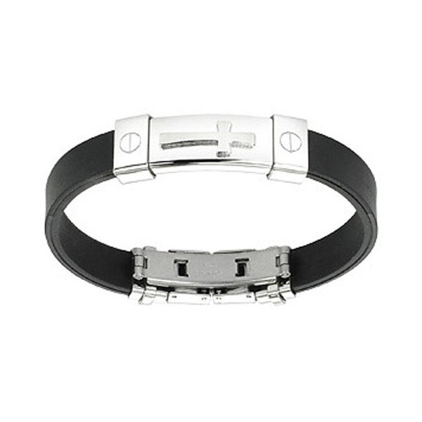 Stainless Steel Cross ID Plate Rubber Bracelet (10 mm) - 7.25 in
