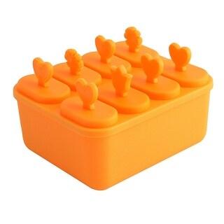 Unique Bargains Home Plastic Rectangle DIY Frozen Ice Cream Pop Popsicle Maker Mold Mould Orange