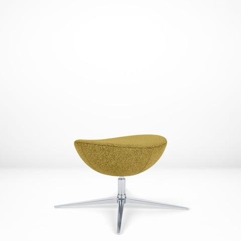 Luna Ottoman, Pneumatic Height Adjustment, Swivel with Return-to-Center Feature, Polished Aluminum Base