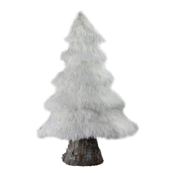 """20"""" Retro Christmas White Faux Fur Holiday Tree Table Top Decoration"""