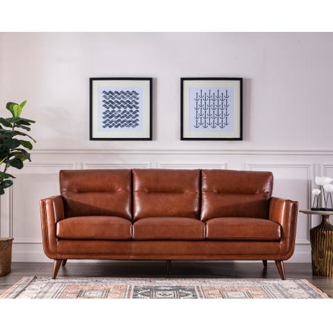 "Carson Carrington Varmlandsbro Brown Leather Sofa - 84""Wx37""Dx35""H"